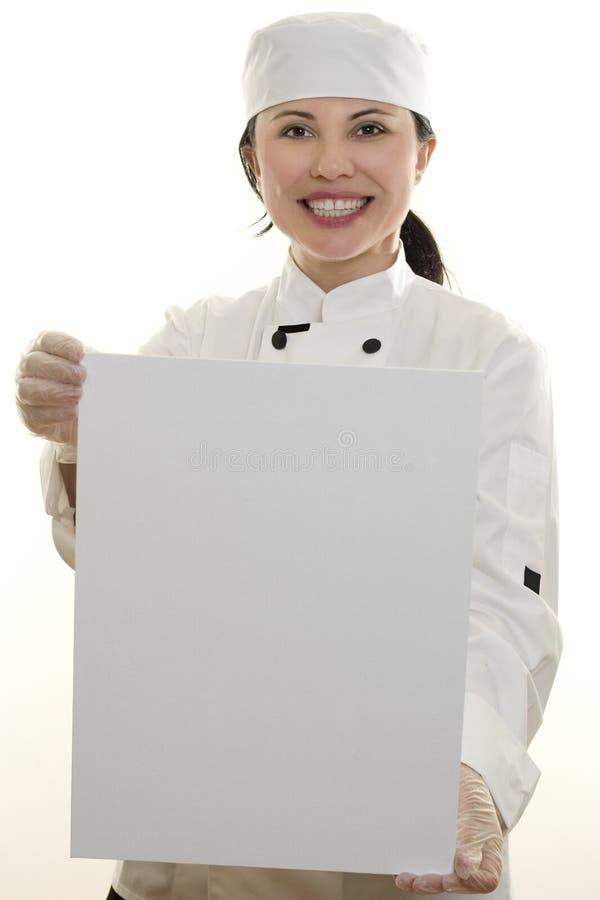 Chef-kok met Teken royalty-vrije stock afbeelding