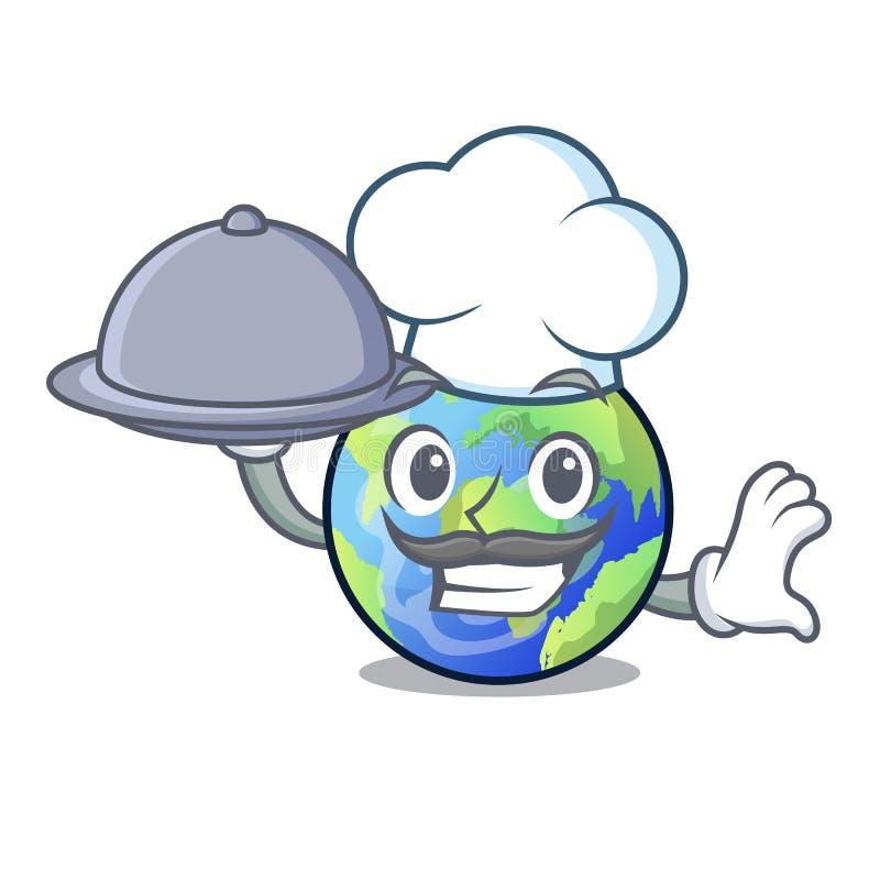 Chef-kok met voedselbeeld van de beeldverhaal langait aarde royalty-vrije illustratie