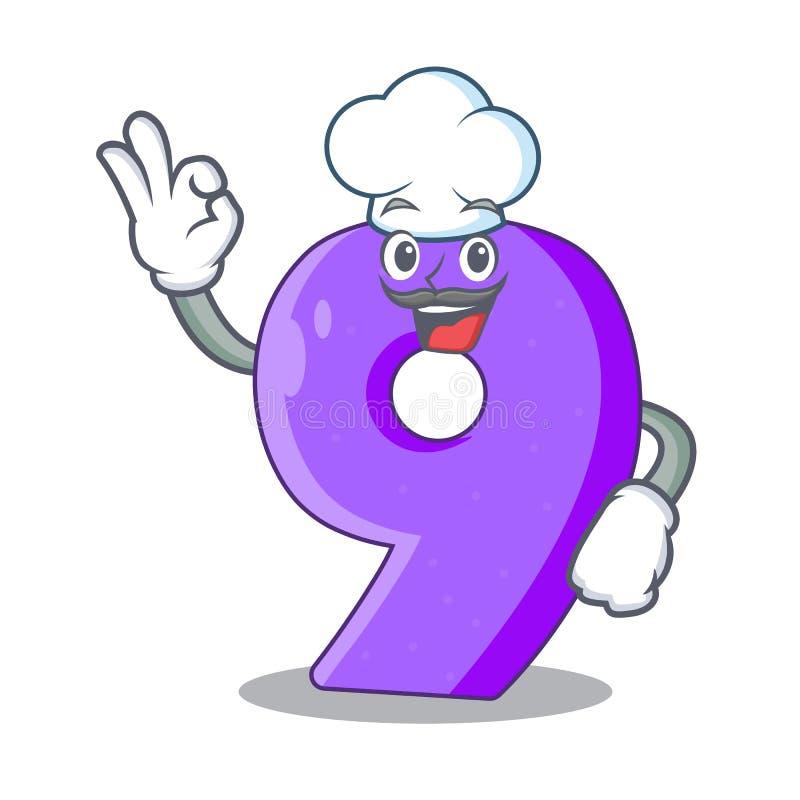 Chef-kok nummer negen atletiek het gestalte gegeven karakter royalty-vrije illustratie