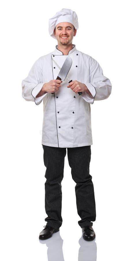Chef-kok op het werk stock fotografie
