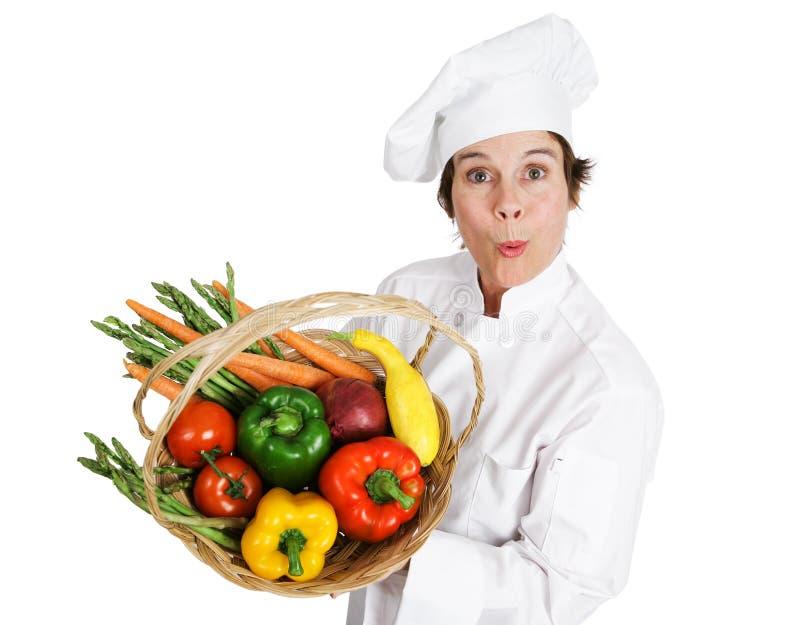 Chef-kok - plaatselijk Afkomstige Groenten stock foto