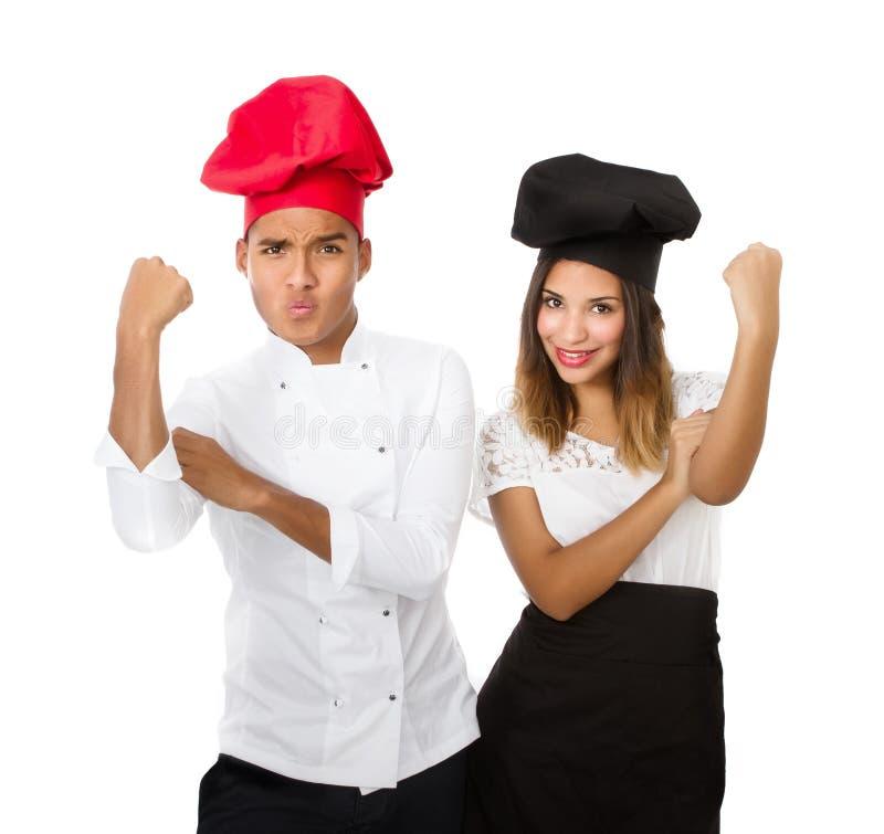 Chef-kok ruw gebaar stock afbeeldingen