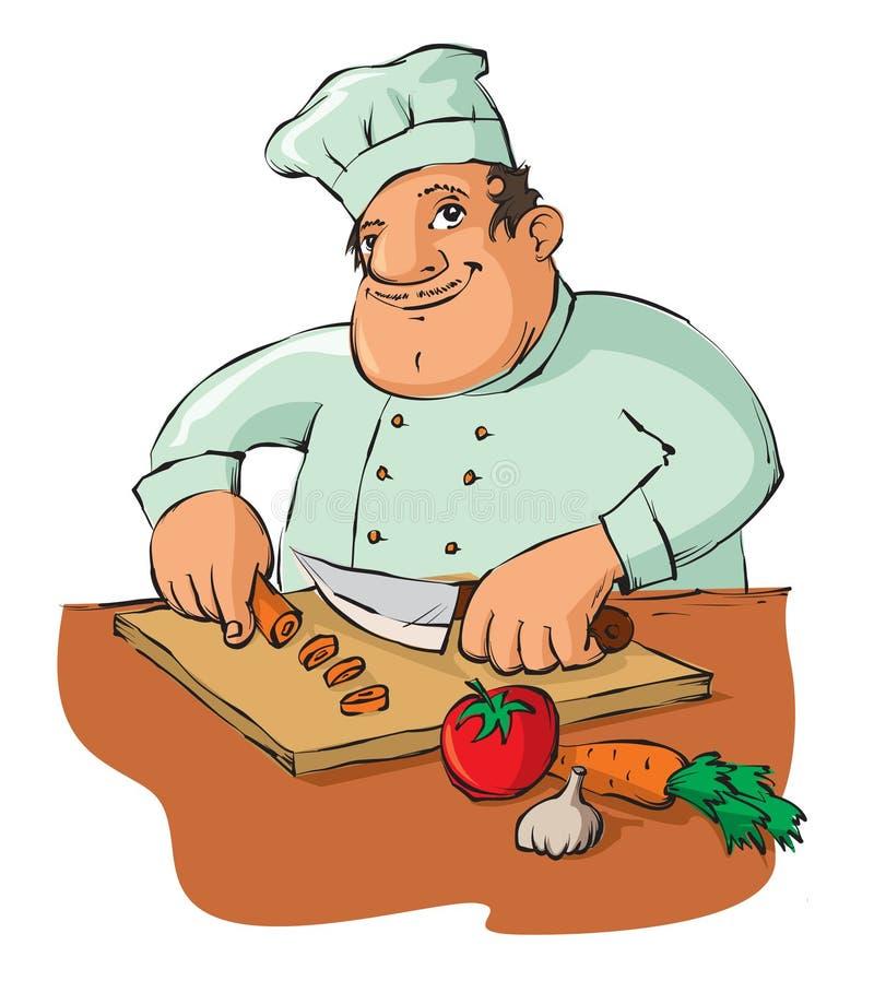 Chef-kok scherpe groenten royalty-vrije illustratie