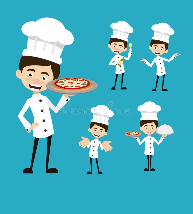 Chef-kok Vector Illustration Design - Pizza het verkopen reeks royalty-vrije illustratie