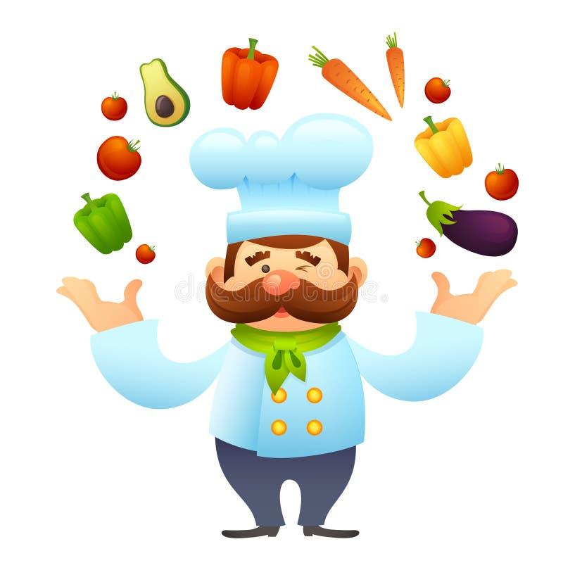 Chef-kok With Vegetables stock illustratie