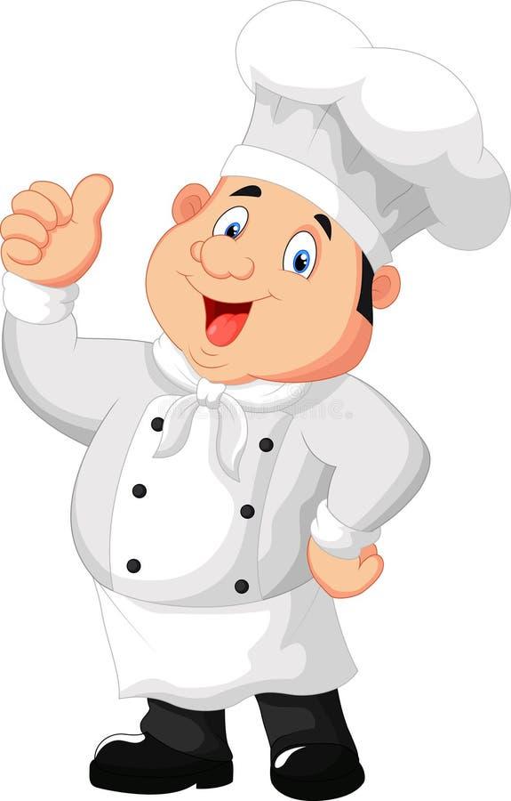 Chef-kokbeeldverhaal die duim opgeven royalty-vrije illustratie