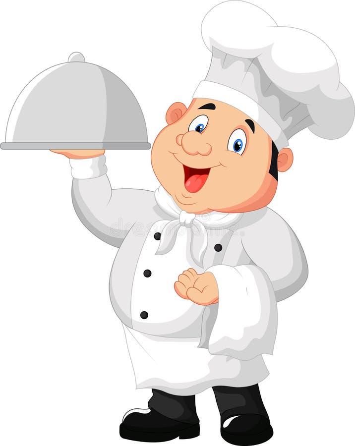 Chef-kokbeeldverhaal die een schotel van het metaalvoedsel houden royalty-vrije illustratie