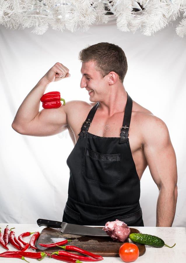 Chef-kokbodybuilder stock afbeeldingen