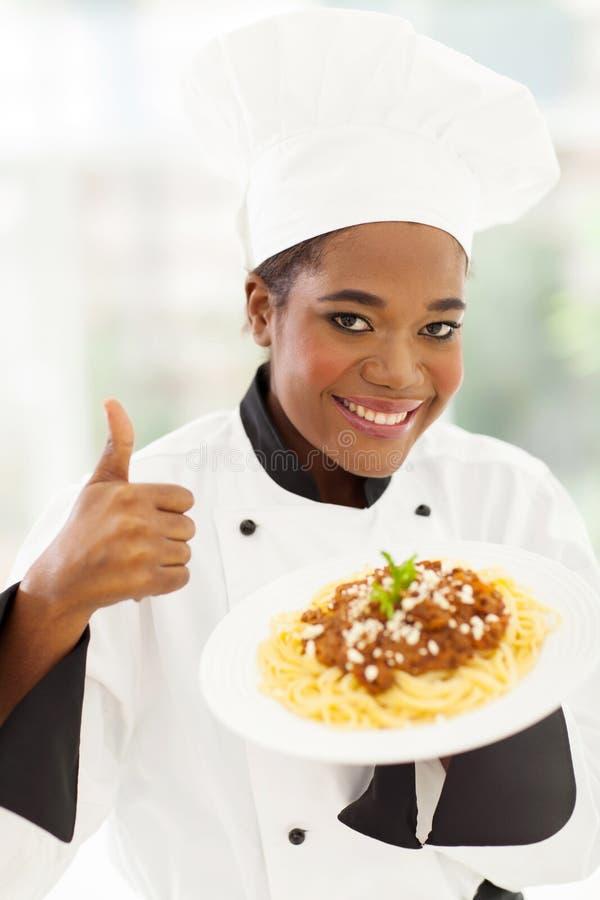 Chef-kokduim omhoog royalty-vrije stock afbeeldingen