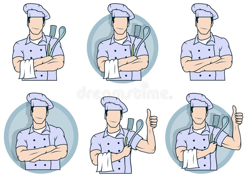 Chef-kokembleem, kokende hoed stock fotografie