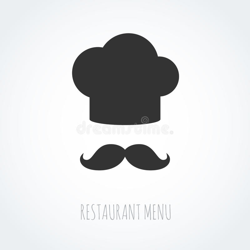 Chef-kokhoed en snor abstract vectorpictogram stock illustratie