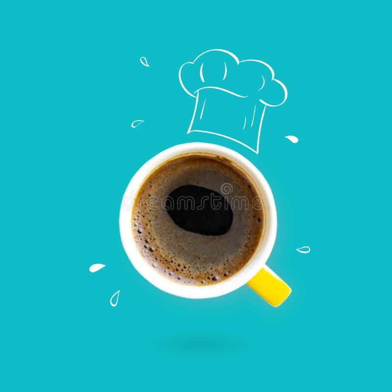 Chef-kokhoed met het concept van de koffiekop vector illustratie