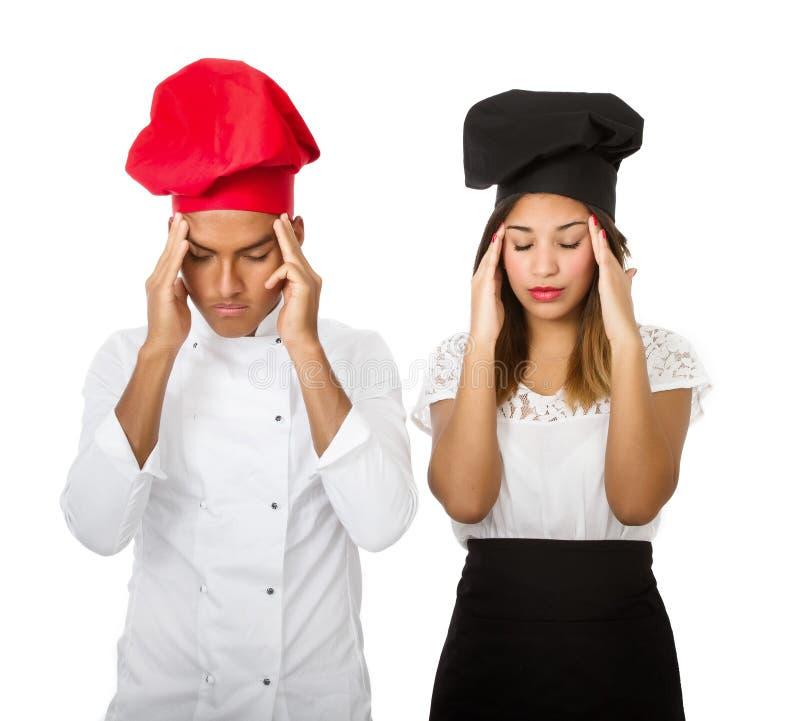 Chef-kokhoofdpijn stock foto's
