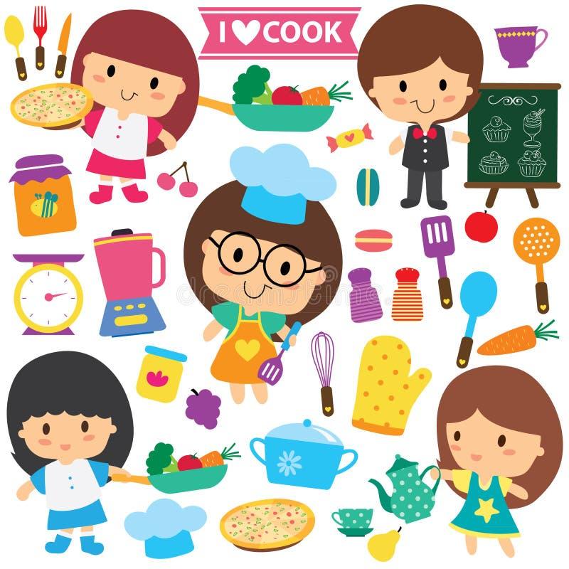 Chef-kokjonge geitjes en van keukenelementen de reeks van de klemkunst royalty-vrije illustratie