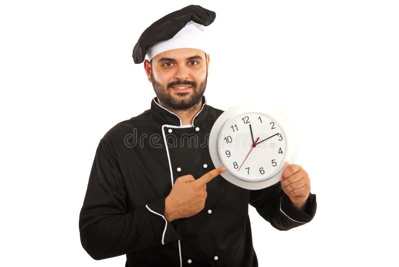 Chef-kokmannetje die aan klok richten royalty-vrije stock afbeelding