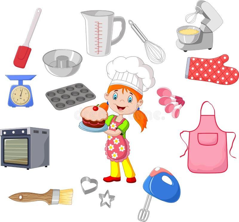 Chef-kokmeisje en cookware vector illustratie