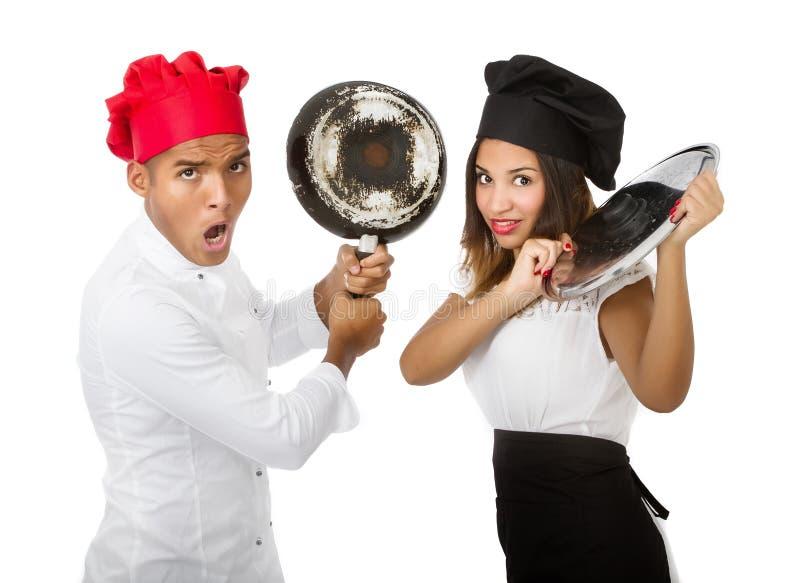 Chef-kokproblemen stock foto's