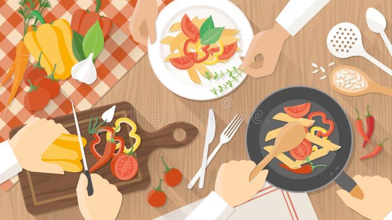 Chef-koks aan het werk in de keuken stock illustratie