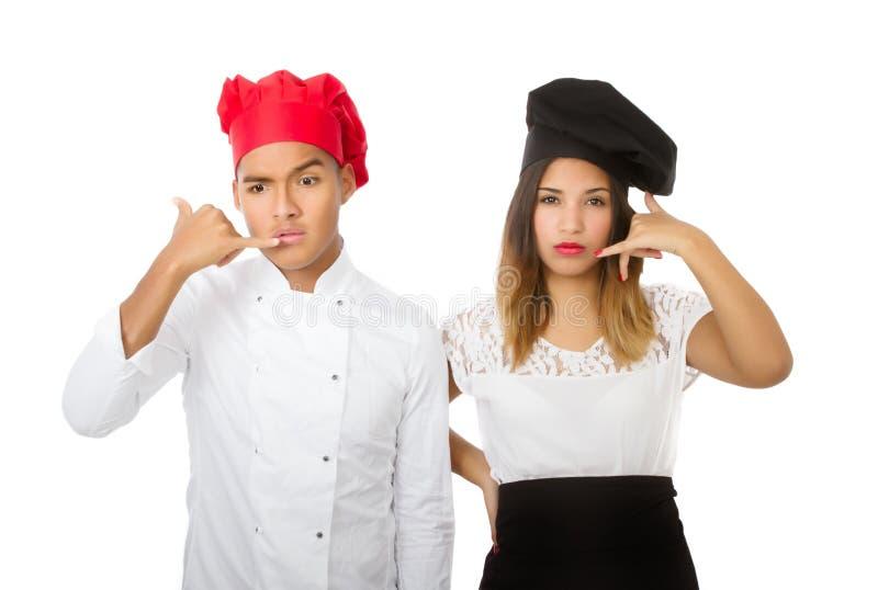 Chef-kokteam die telefoon beantwoorden royalty-vrije stock afbeelding