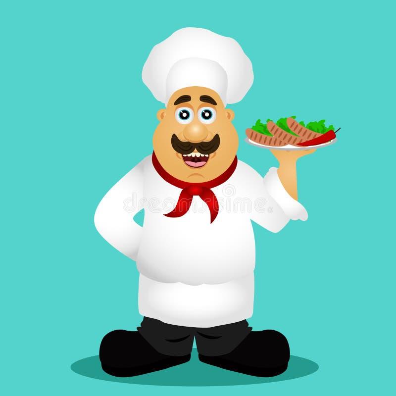 chef kucharz Szef kuchni z kiełbasami ilustracja wektor