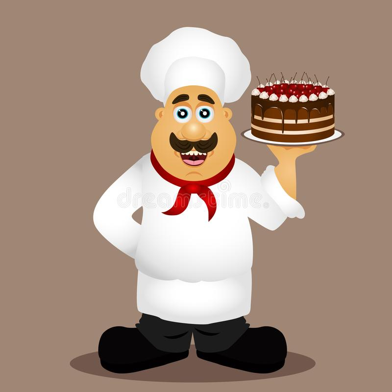 chef kucharz Szef kuchni z tortem ilustracji