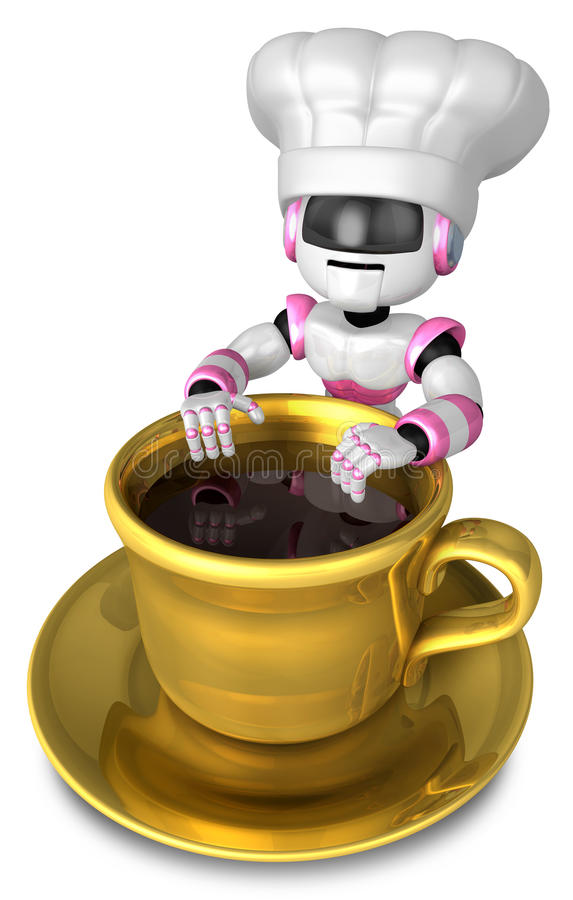 Download Chef Leaning On A Gold Cup Of Coffee Stock Illustration - Image: 27024397