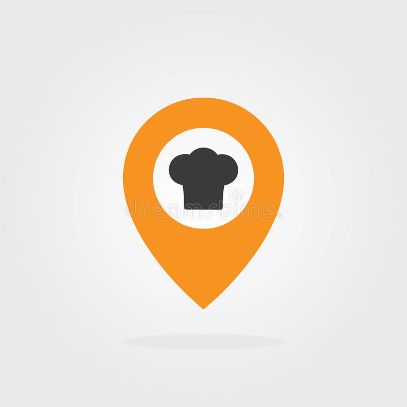 Chef Location pointer with chef hat Symbol Vector. Map pointer icon for food, chef, lunch, dinner, menu sign. Location pointer Symbol Vector. Map pointer icon royalty free illustration