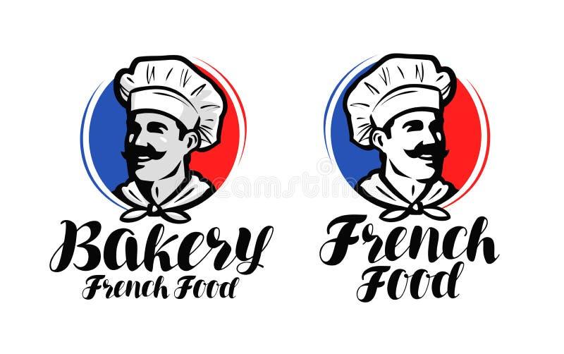 Chef, logo de cuisinier Nourriture française, symbole de boulangerie ou label Conception typographique d'illustration de vecteur illustration stock