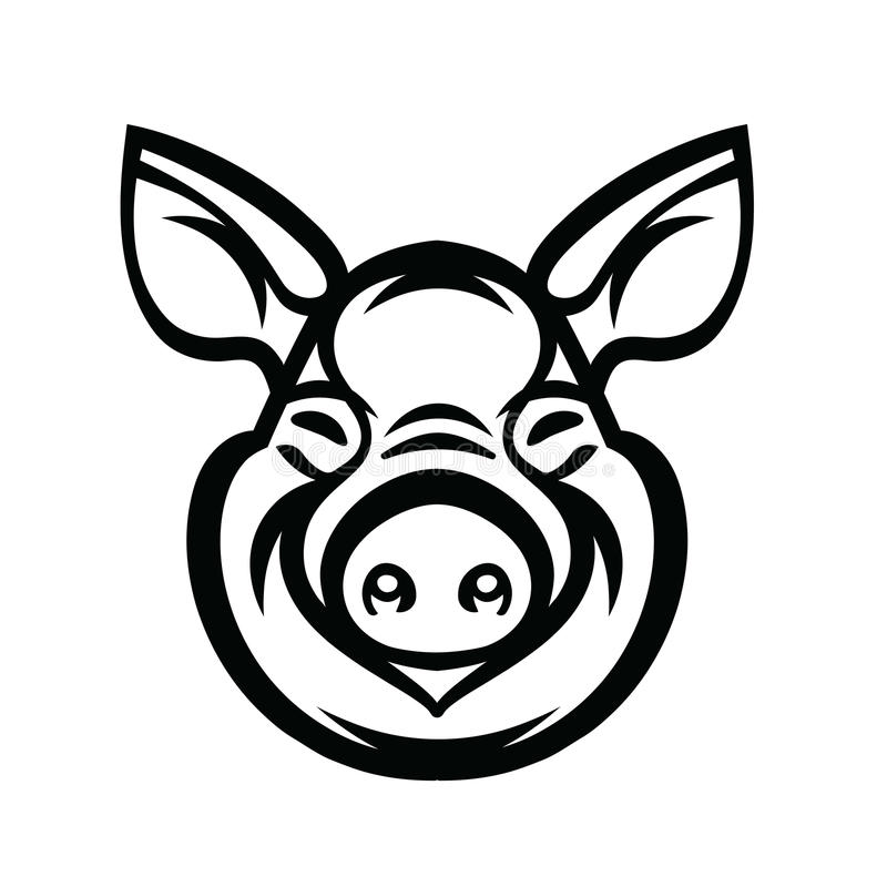 Chef Logo Mascot Emblem de porc illustration stock