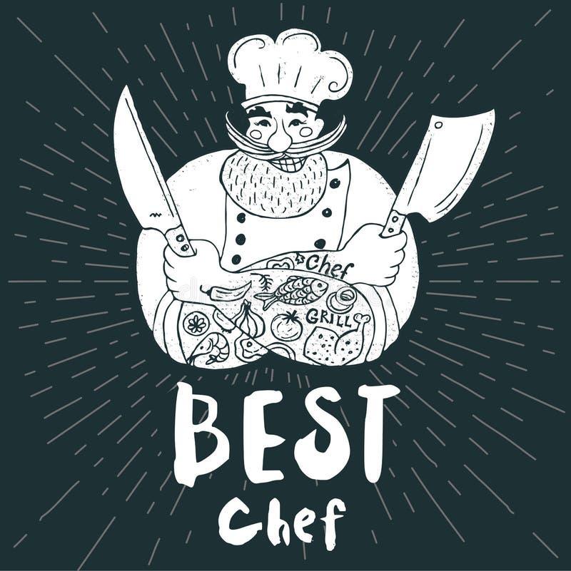 Chef logo menu set. Best chef logo Chalkboard, background Chef, male, beard, mustache, knife, smile, cleavers, chefs hat, light rays Hand drawn vector vector illustration