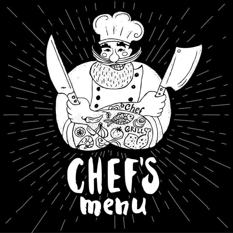 Chef logo menu set. Chefs menu logo Chalkboard, background Chef, male, beard, mustache, knife, smile, cleavers, chefs hat, light rays Hand drawn vector vector illustration