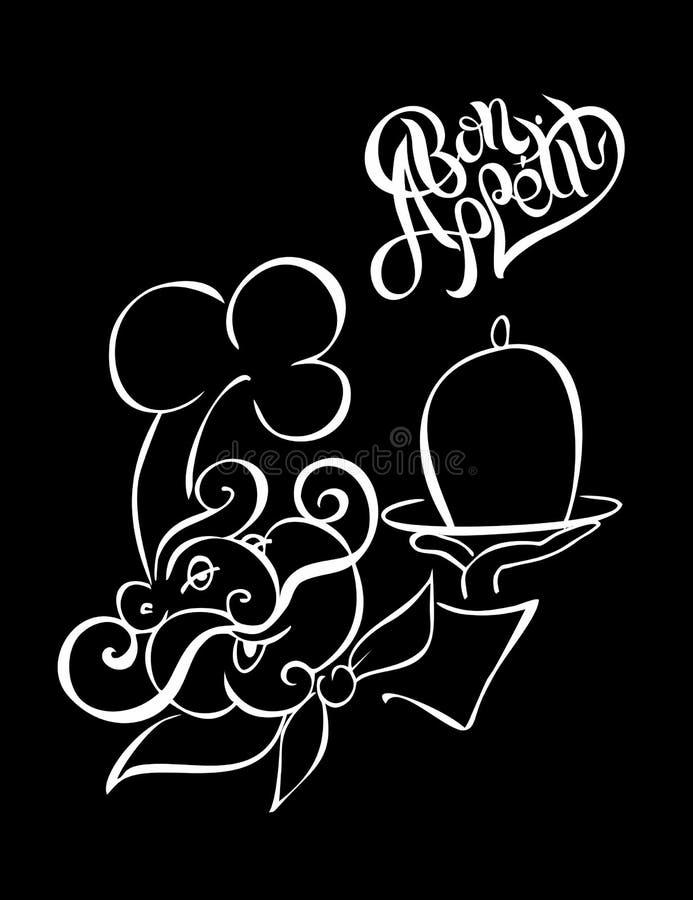 chef logotyp kucharz Bon oskoma Elegancki literowanie Czarny tło Skutek kredowa deska wektor royalty ilustracja