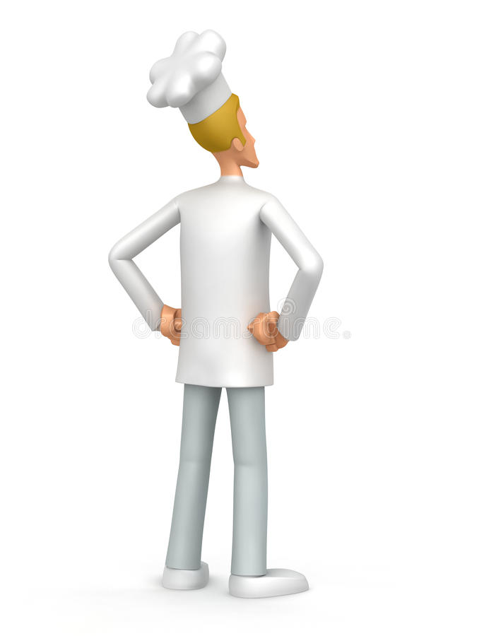 Chef looks into the distance. Illustration of an abstract character on a white background for use in presentations, etc