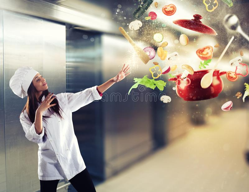 Magic chef ready to cook a new dish royalty free stock images