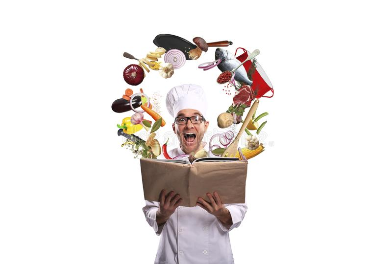 Chef looks at the recipe stock photos