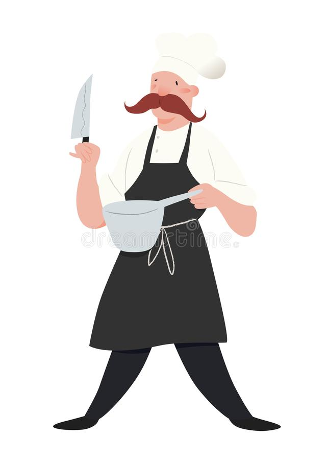 chef Mężczyzna w fartuchu i szefowie kuchni kapeluszowi Pracownik kuchnia z wąsami, nożem i niecką, Ludzie wektor ilustraci ilustracji