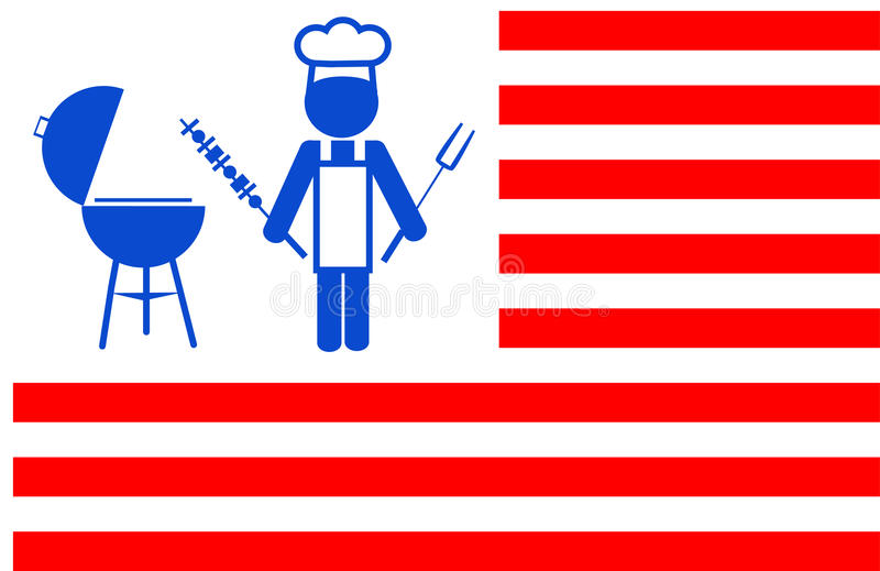 Chef Making Bbq Grill With Red Stripes Background Stock Image