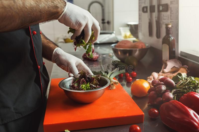 Chef making fresh vegetables mix salad royalty free stock photos