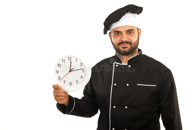 Chef male holding clock. Isolated on white background stock photography