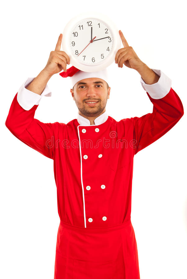 Chef male showing clock. Over head isolated on white background royalty free stock photos