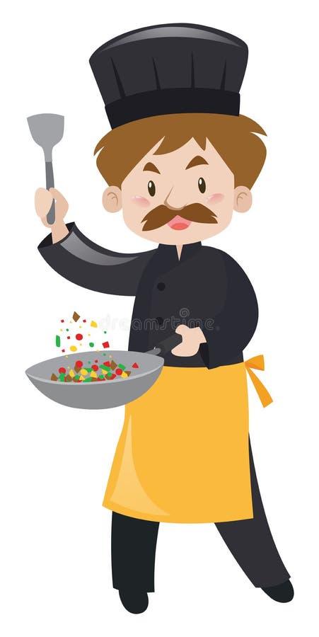 Chef masculin avec la spatule et la casserole illustration de vecteur