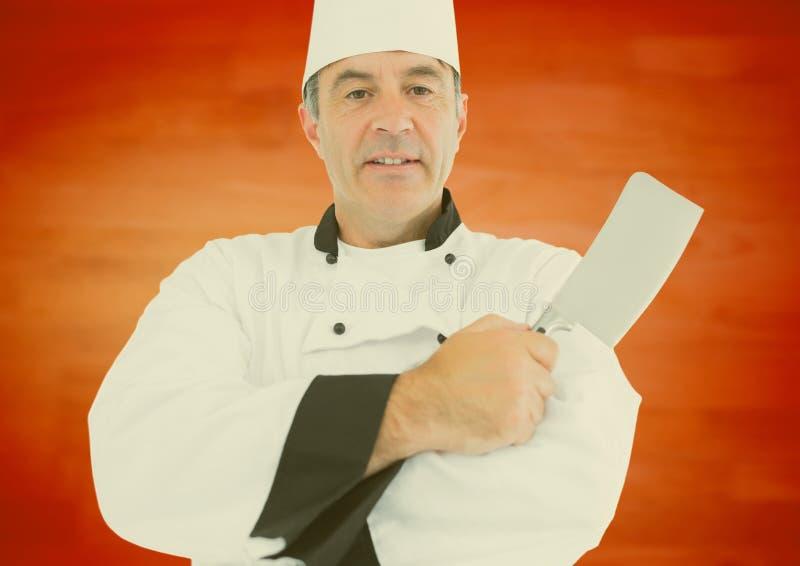 Chef masculin du portrait OD tenant couper le couteau illustration de vecteur