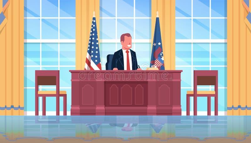Chef masculin intérieur s'asseyant de meubles de lieu de travail de président des Etats-Unis de drapeau national de bureau d'armo illustration de vecteur