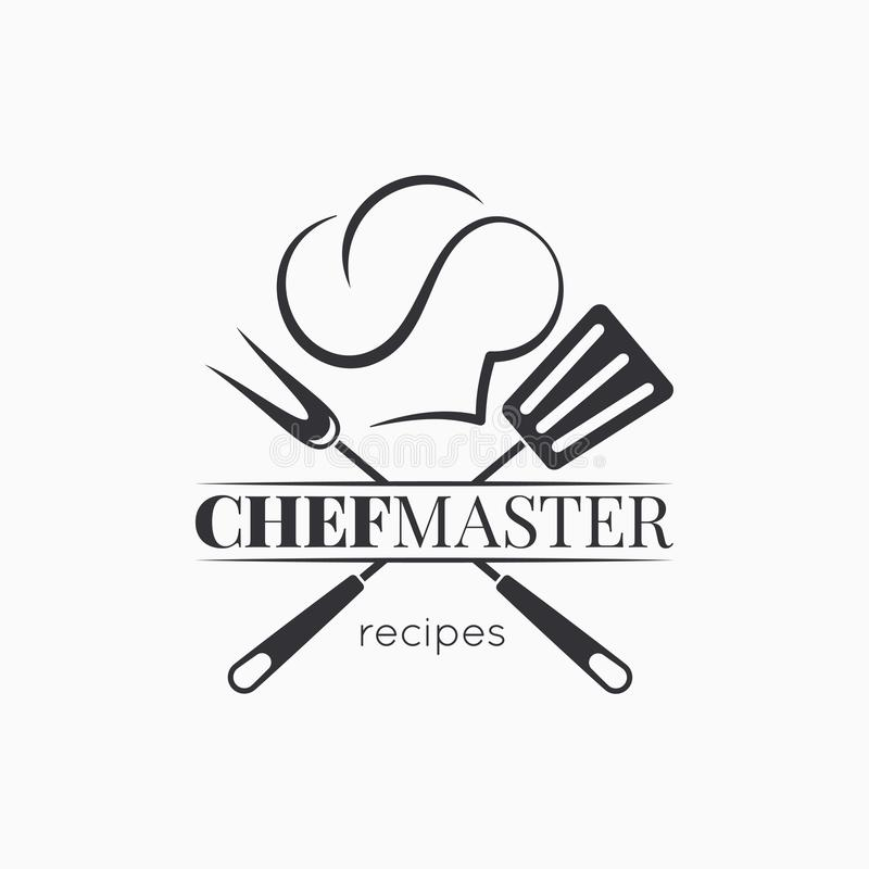 Chef master logo with chef hat on white background royalty free illustration
