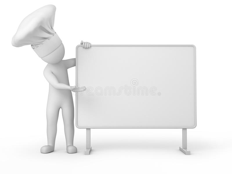 Chef, Mensch 3d und Anschlagtafel lizenzfreie abbildung