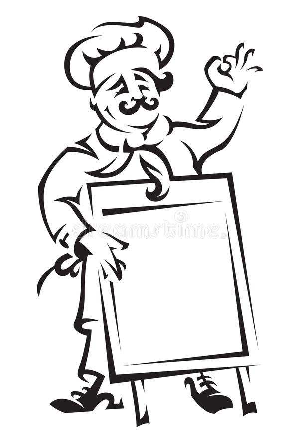 Chef With Menu Board Royalty Free Stock Photos