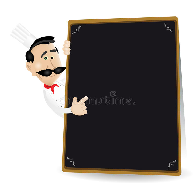 Chef Menu Holding A Blackboard Royalty Free Stock Images