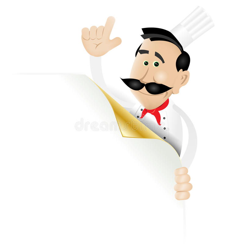 Chef Menu Holding A Corner Page. Illustration of a cartoon white cook man holding blank sign showing today's special or menu. Enjoy this elegant designed page royalty free illustration
