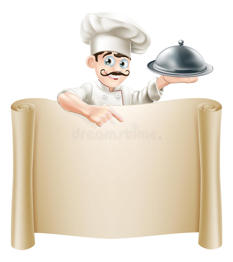 Chef Menu Scroll. A cartoon chef character holding a silver platter or cloche pointing at a scroll or menu royalty free illustration