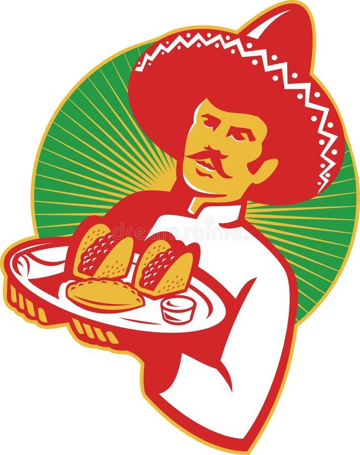 Chef mexicain Serving Taco Burrito Empanada rétro illustration libre de droits
